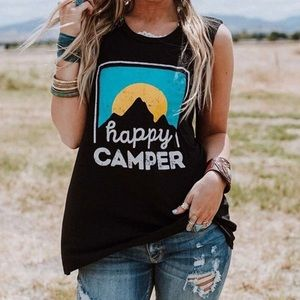 HAPPY CAMPER sleeveless tee. Size MED